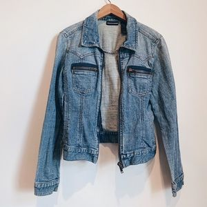 DKNY Jeans Faded Denim Jacket with Thick Zippers